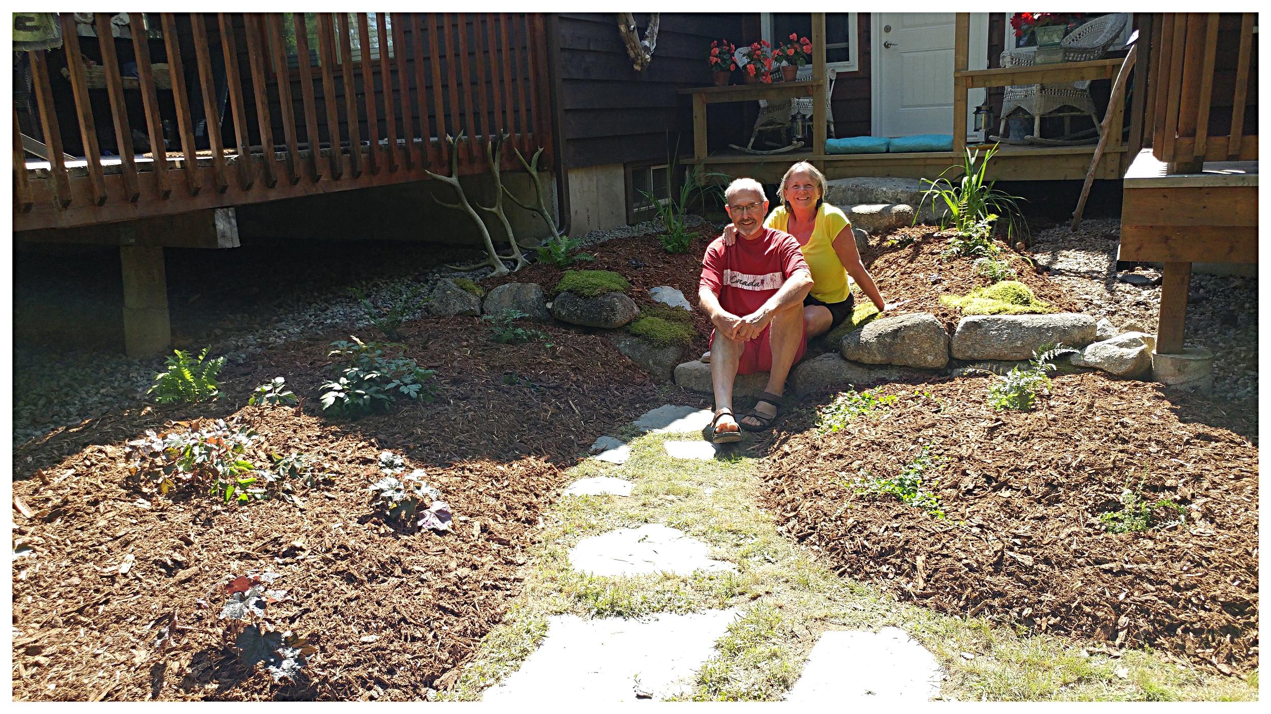 Happy clients in their Earthshine garden .