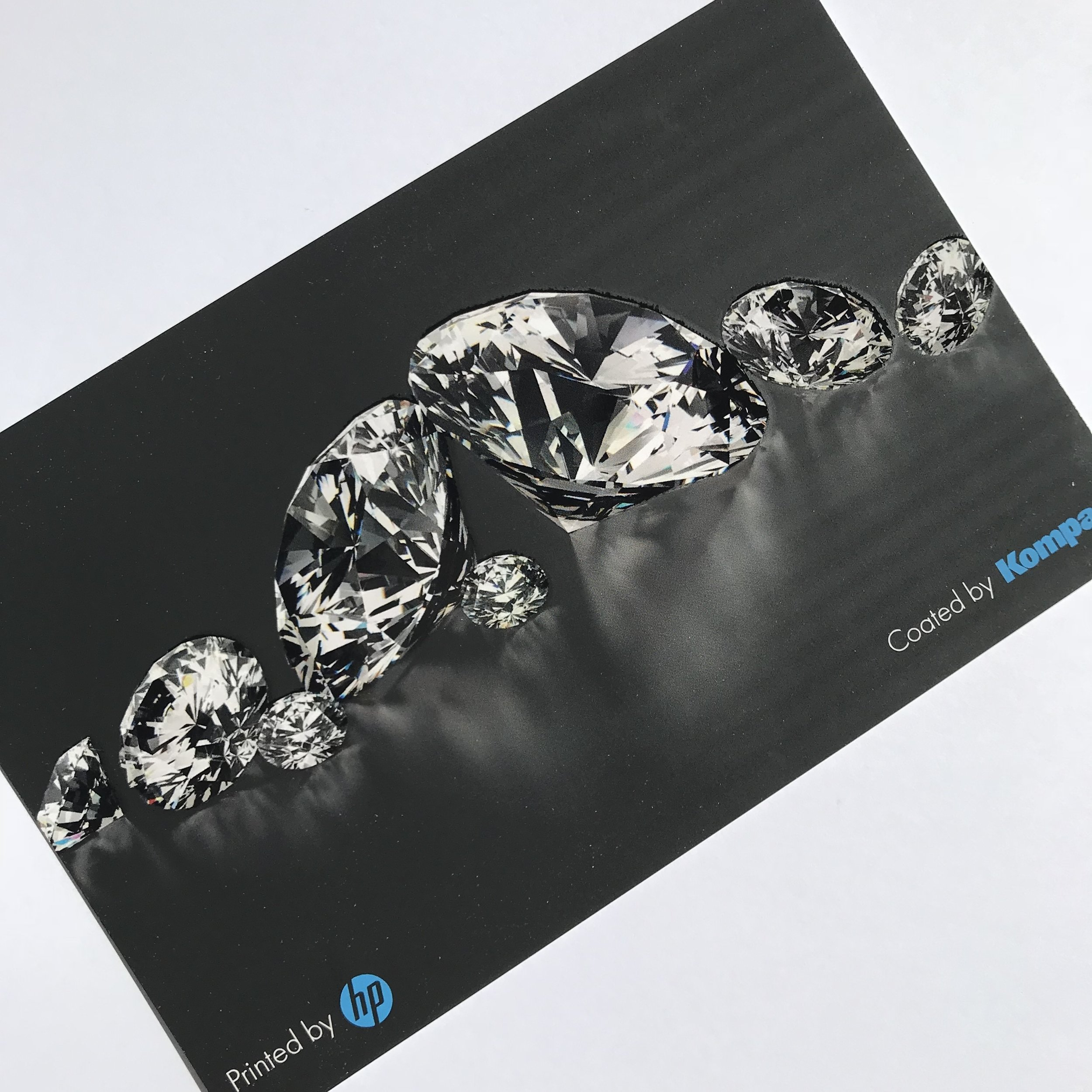 Spot Gloss Coating Sample - Printed on an HP Indigo and coated using the Kompac Kwik Finish 32