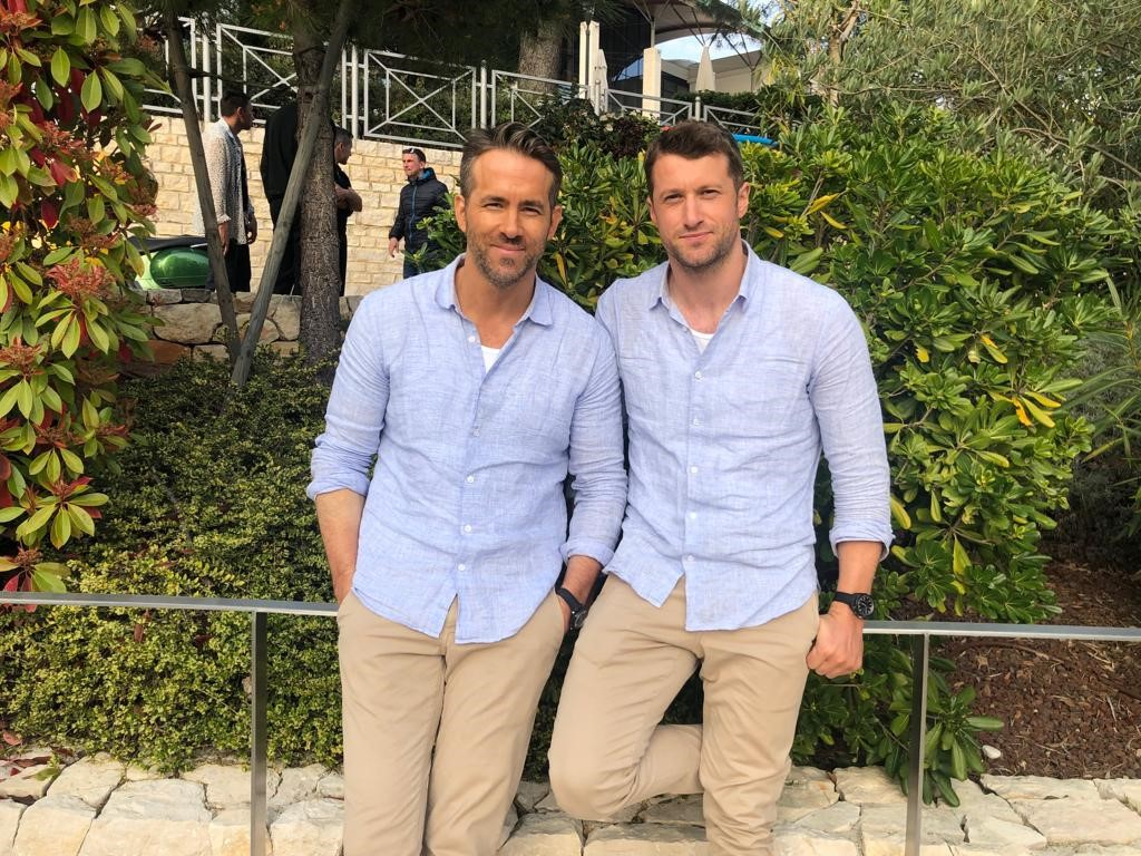 Image: Ryan Reynolds & Stunt Double Jonny James onset of The Hitman's Wife's Bodyguard in Croatia May 2019