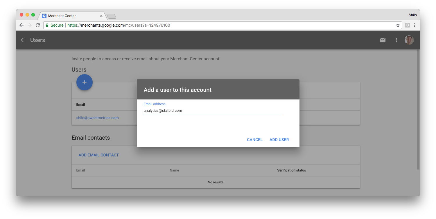 3) Click the  Plus button and enter the name:  StatBid  and email address: analytics@statbid.com  and click  Add user.