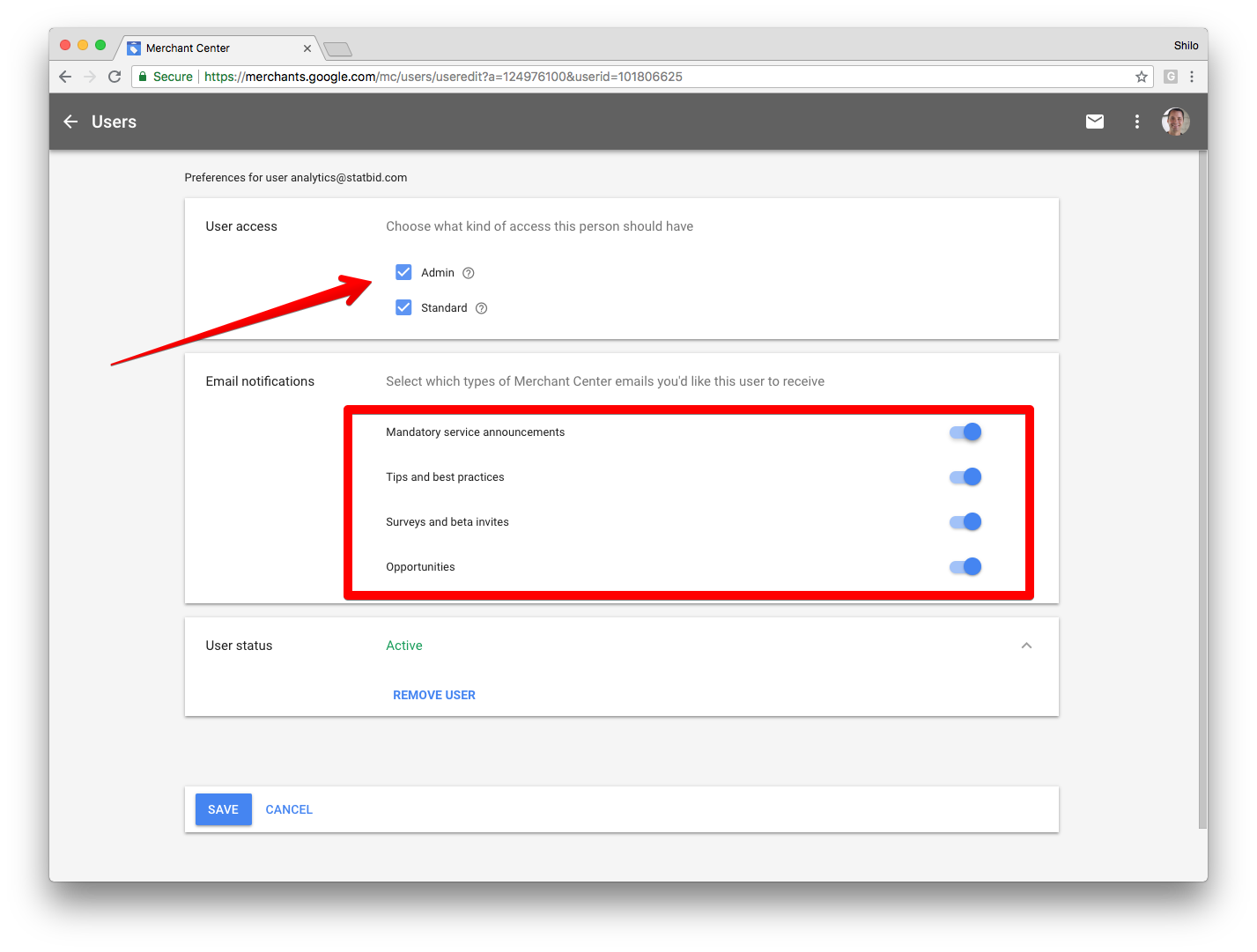 4) On the next page, grant  Admin Access and toggle the options highlighted in the box above.  5) Click  Save .