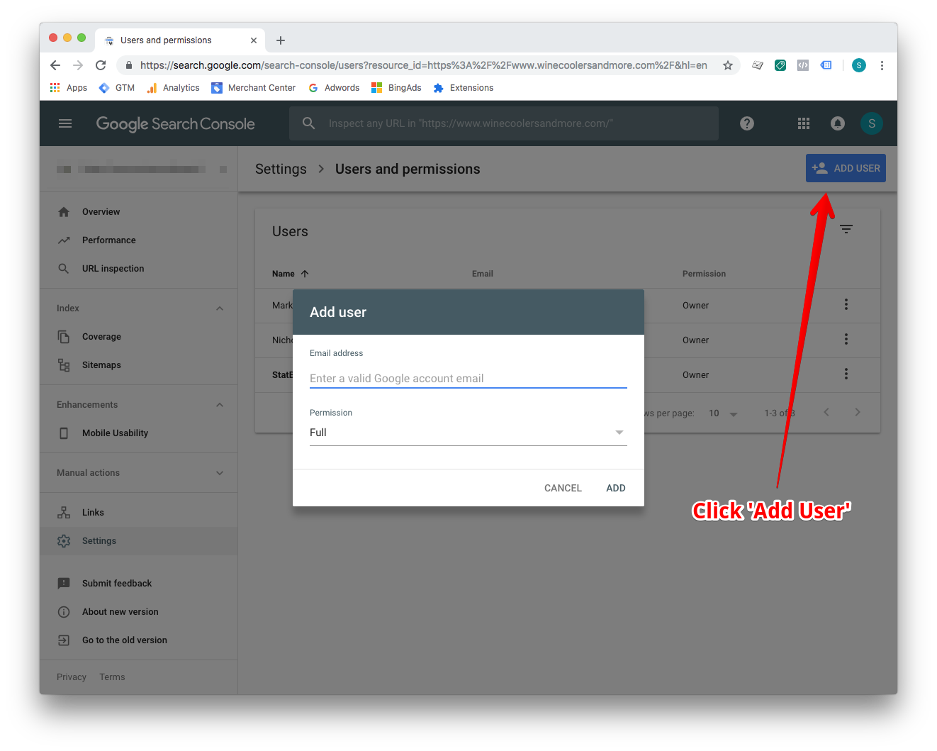 Next, click on the Add User button and enter the email address analytics@statbid.com with full permission.  Select Add and you are done.