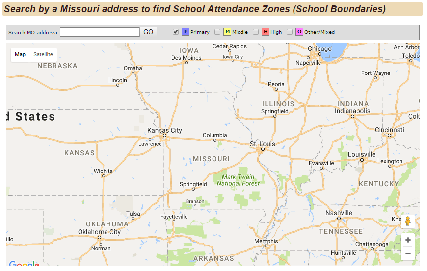 "Image 1. Section titled ""Search by a Missouri address to find school Attendance Zones (School Boundaries)"""