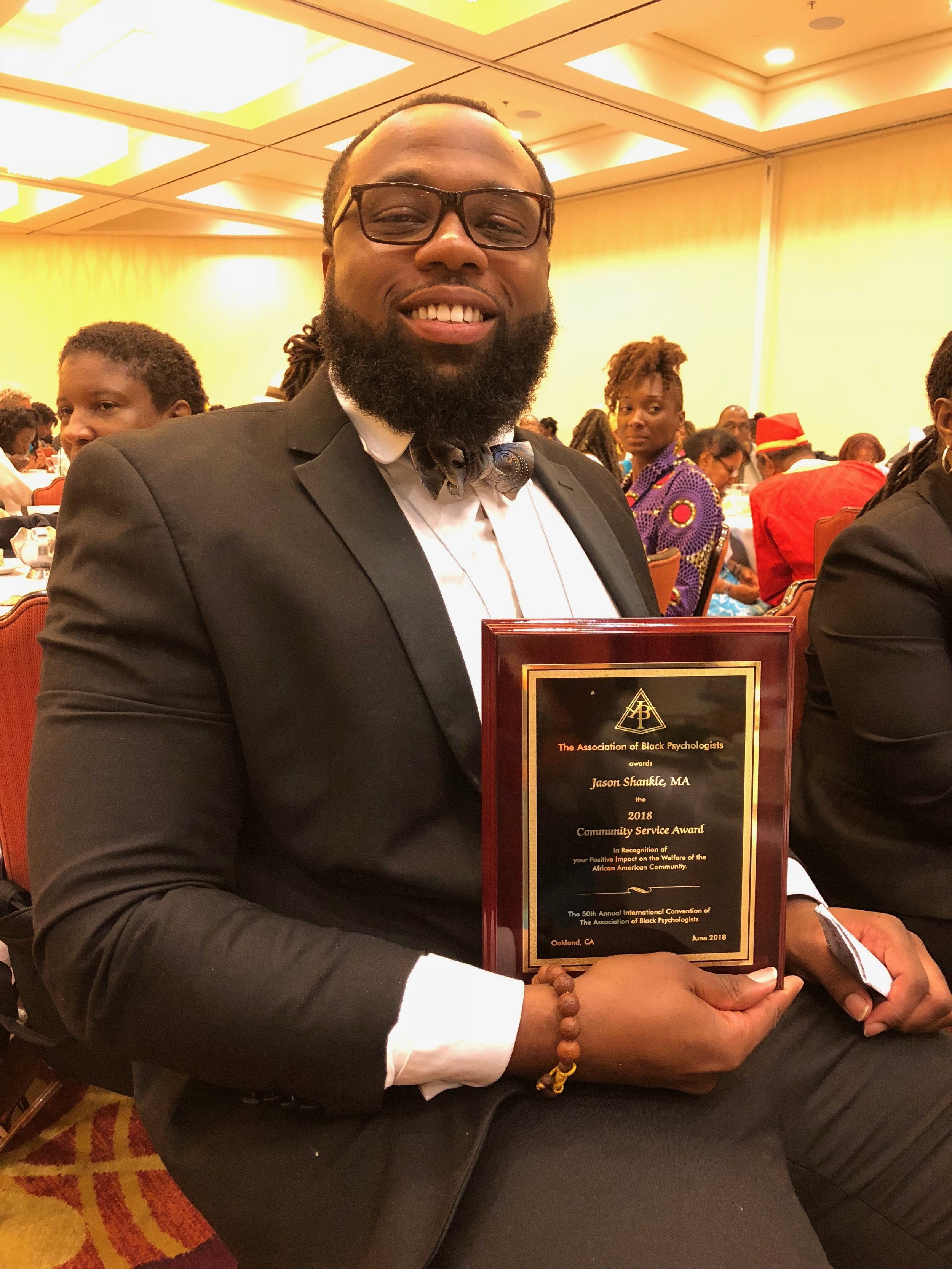 2018 Community Service Award - In recognition of your Positive Impact  on the Welfare of the African American Community. The 50th Annual International Convention of The Association of Black Psychologists