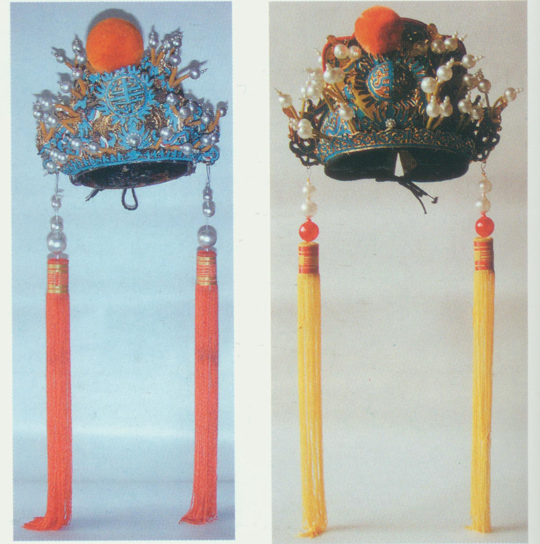 """Nine-Dragon Crown    A rigid helmet, also known as """"Jade Cicada Crown"""". The crown is fringed with half- ruyi  (an S-shaped jade ornament symbolizing good luck) or small cloud patterns. There is a round warped- shou  (a Chinese character meaning longevity) encircled by flames and a big apricot velvet ball at the frontal center. Nine dragons in total are attached to the crown—three pairs dragons at the sides, a pair of coiling dragons, and a pair of dragons heading downwards, hence its name """"Nine-Dragon Crown"""". There are also some strings of beads and tassels on both sides. Only the emperor can wear this crown."""