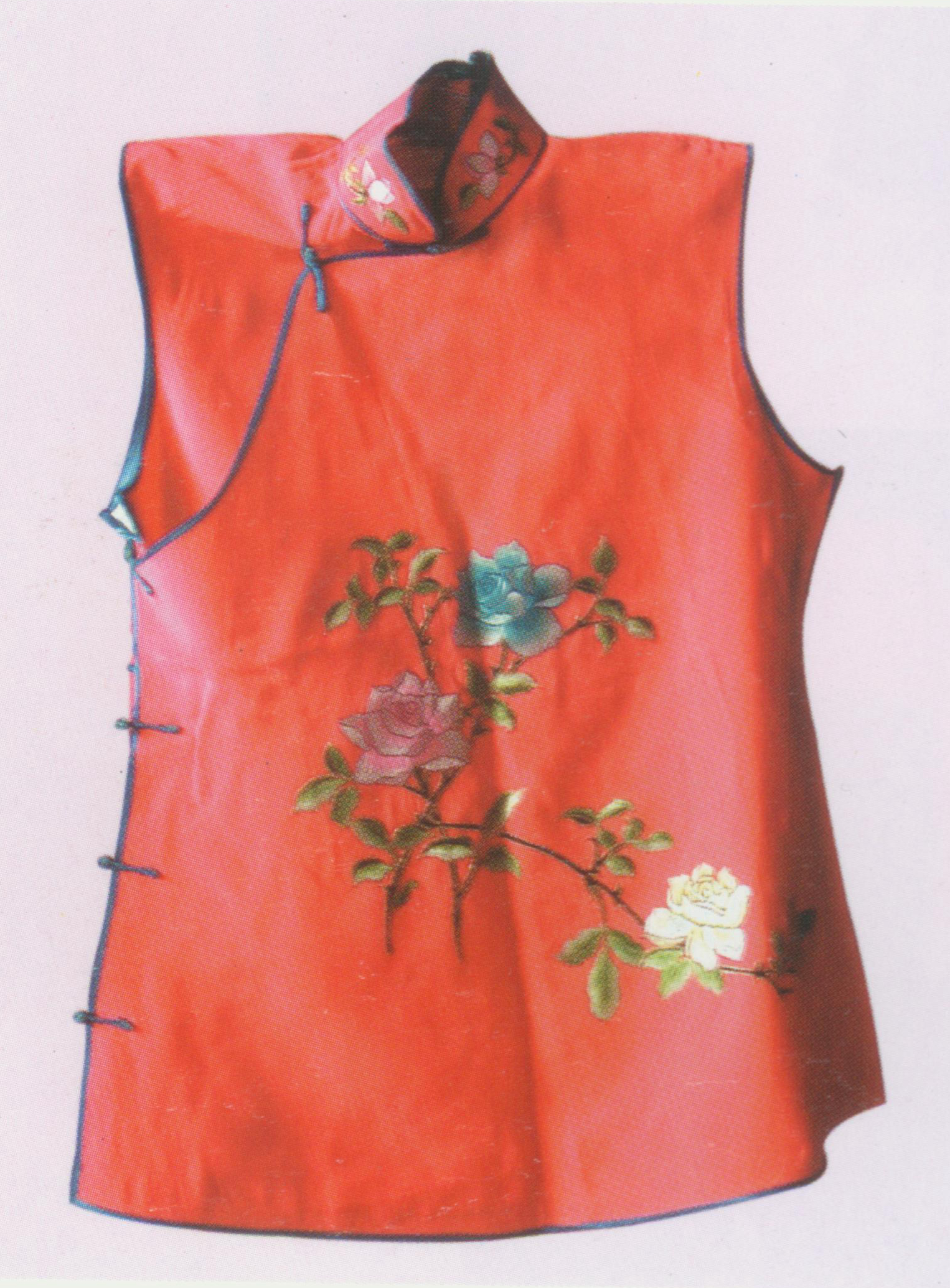 """Small Red Waistcoat Costume,  also known as """"red livery for solders"""" ( hong zu kan ). It has a round neck and a distinctive Chinese jacket buttons down the front (i.e.  duijin ). It is embroidered with flowers in round frame and its matching frets, ancient coins and dragons. It is made of red satin and edged with coloured-cloth. The inside surface which is made of a yellow cloth with black tiger-skin pattern can be turned outwards as the outside surface – in other words, the waistcoat is a reversible. The small red waistcoat is usually worn by walk-on roles, such as Xi Xiaojun in  The Snow Jade Cup  and Da Gui in  The Nine-Lotus Lattern ."""