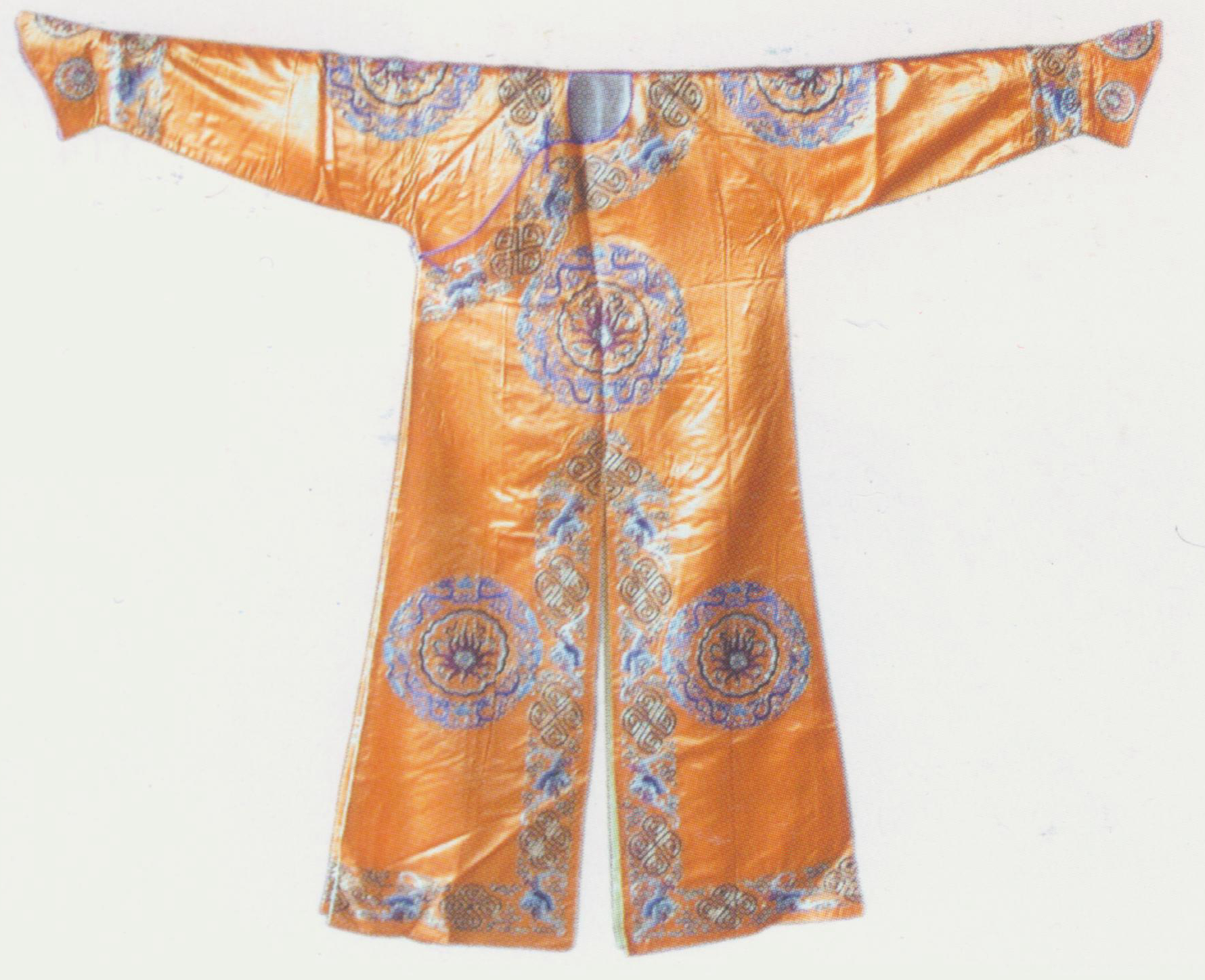 """Archer Robe Costume,  a flimsy military uniform. There two types of arrow robes: plain and coloured. The plain one is marked by its round neck, buttons on the right ( dajin ) and U-shaped cuffs. This hemmed robe has inner lapels and long slits in the middle of the front and back. It mainly uses soft satin cloth of purple, red, black, green, blue, etc. Sometimes, it is also made of cyan cloth, worn by bailiffs in a  yamen  (government office in feudal China), for example, Diao Nanlou in  The South Chamber  and the bailiffs in  The Story of Selling Horses .  The coloured archer robe resembles the plain one, except for its additional triangle-shaped collar, waist band, buckles and other ornaments. The edges of its lapel, neck and slit are all trimmed with two-inch wide lace embellished with small floral patterns. Important parts including the chest and the back are embroidered with big flowers in round frame. Colours including pink, light green, white, black, green, purple and red are widely used for this type. In the Act """"Assigning Tasks"""" of  The Phoenix Mountain , for example, Jiang Huayou wears a light green archer robe and La Huazuo wears a pink one."""
