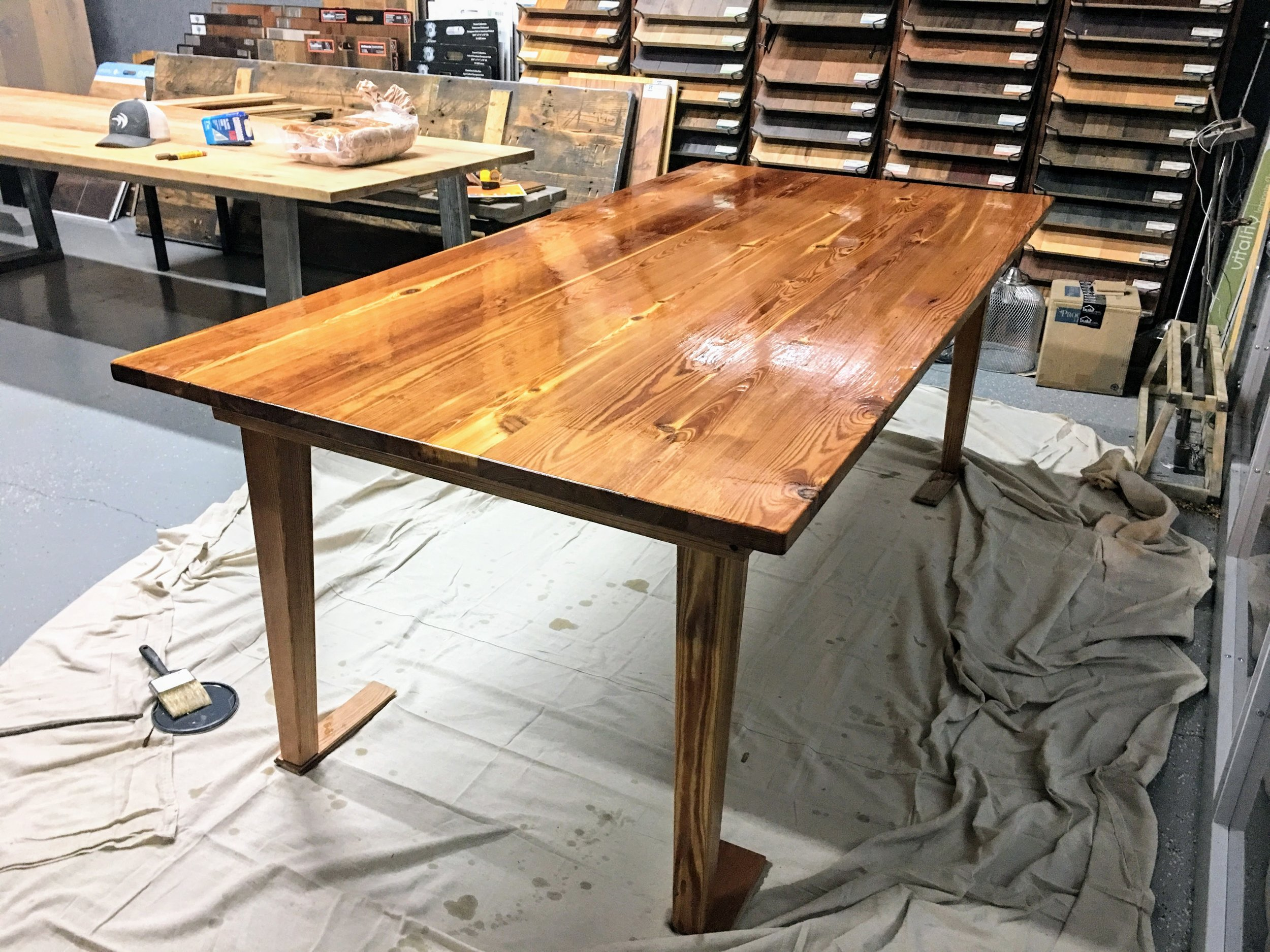 antique heart pine 7' table - finished