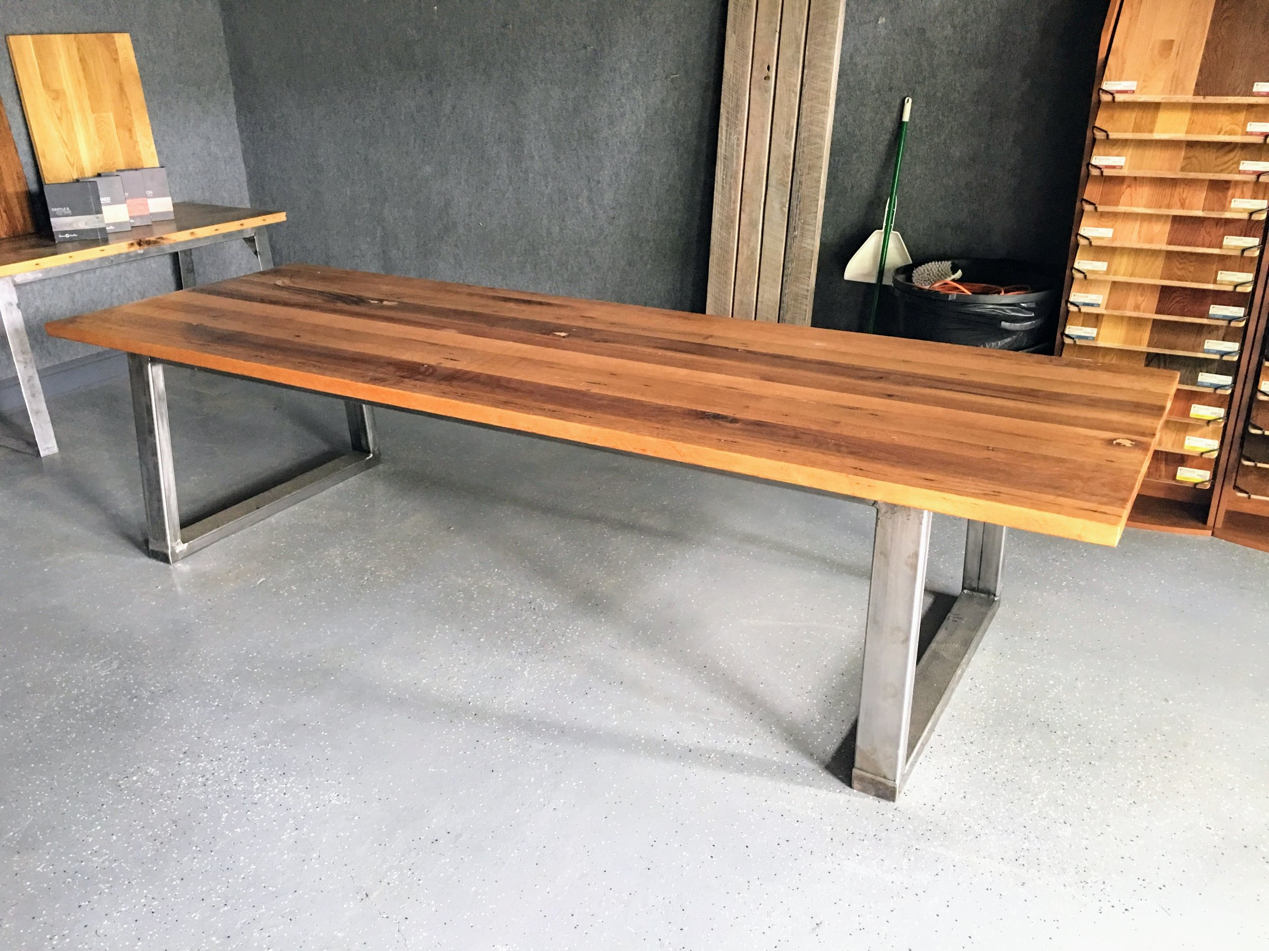character oak 10' table | wide metal base finished