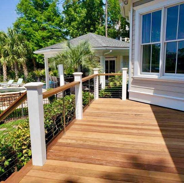 Ipe (pronounced EE-pay), aka Brazilian Walnut, is a beautiful exotic wood from South America. Decking inherits the tree's natural properties to make it the toughest, longest-lasting decking material available. Preferred around the world over any other option.  Our latest Ipe Decking & installation along with the cable rails.  #yourwoodsupplier #ipedecking #exotichardwood #ipewood #charlestonoutdoors #charlestonporches  www.EBWoodWorks.com