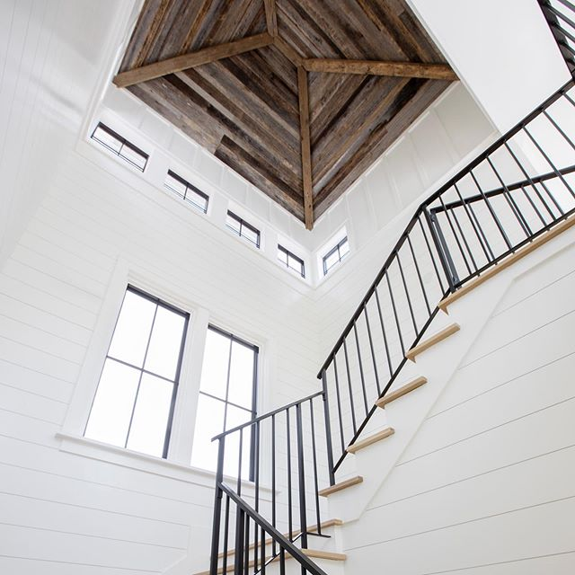 A touch of history in this new, modern James Island home. More pics to come from this beauty!! #reclaimed #reclaimedbarnwood #reclaimedceiling #shiplap #barnwoodprojects  www.EBWoodWorks.com  Photo Cred   @margaret.wright