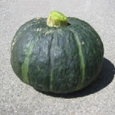 Kabocha (Green/Red)   Smooth, dense, intensely yellow flesh that is similar in sweetness and texture to sweet potato.   Best uses: curries, soups, battered and fried as Japanese tempura.