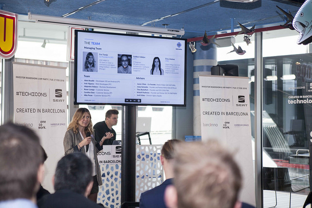 The  TECHICONS Investor Roadshow,  which gathered 70 people on the morning of 27 February 2018. Among them, 17 start-ups from several cities around the world were represented: Barcelona, Madrid, Munich, Copenhagen, Tallinn, London, Moscow,Berlin and the United States.  Link to photos from 2018:   https://www.flickr.com/photos/140600136@N02/sets/72157688608792260