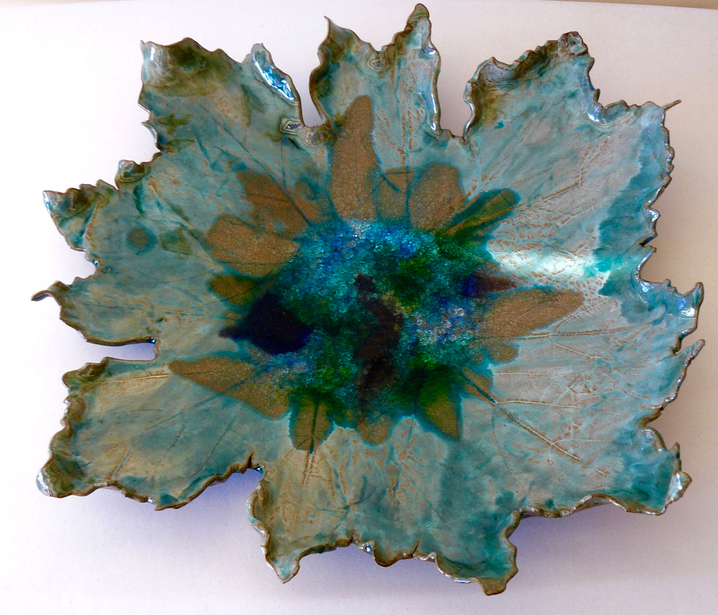 "Ceramic and Glass Flower Bowl, Ceramic and Glass, 18"" x 18"" x 4"""