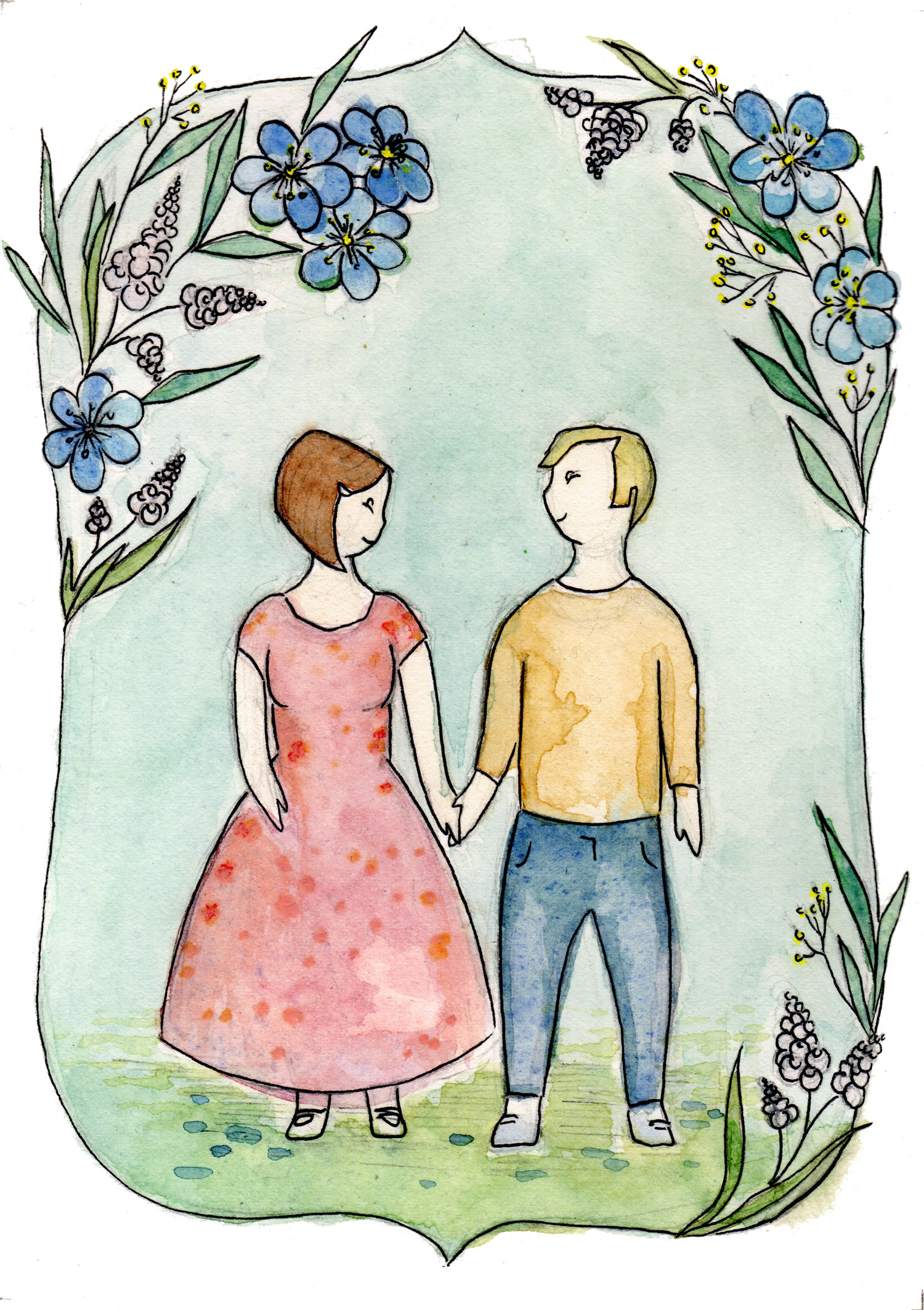 "Custom Illustration for Wedding Invitation, Gouache on Paper, 5"" x 7"""
