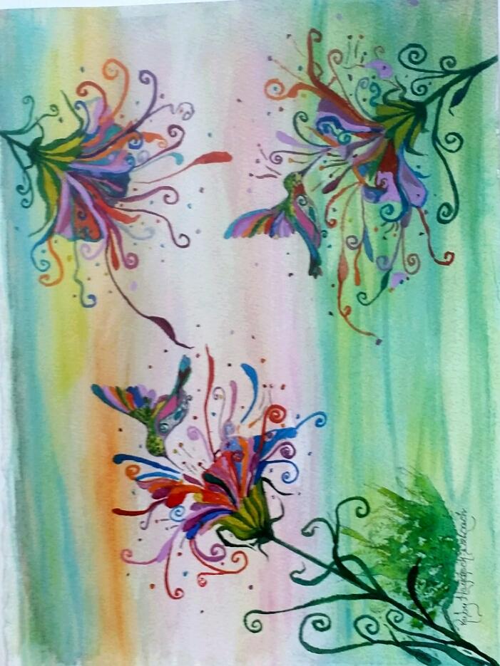 """Hummingbird Paradise / Watercolor / 14"""" x 16"""""""