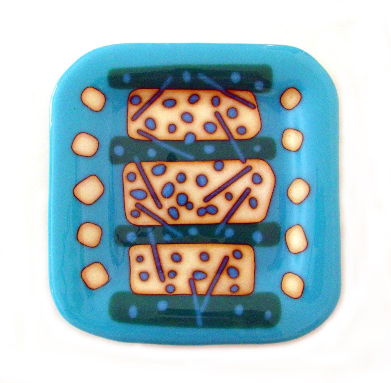 "Aqua Plate Square, Fused Glass, 10"" x 10"""