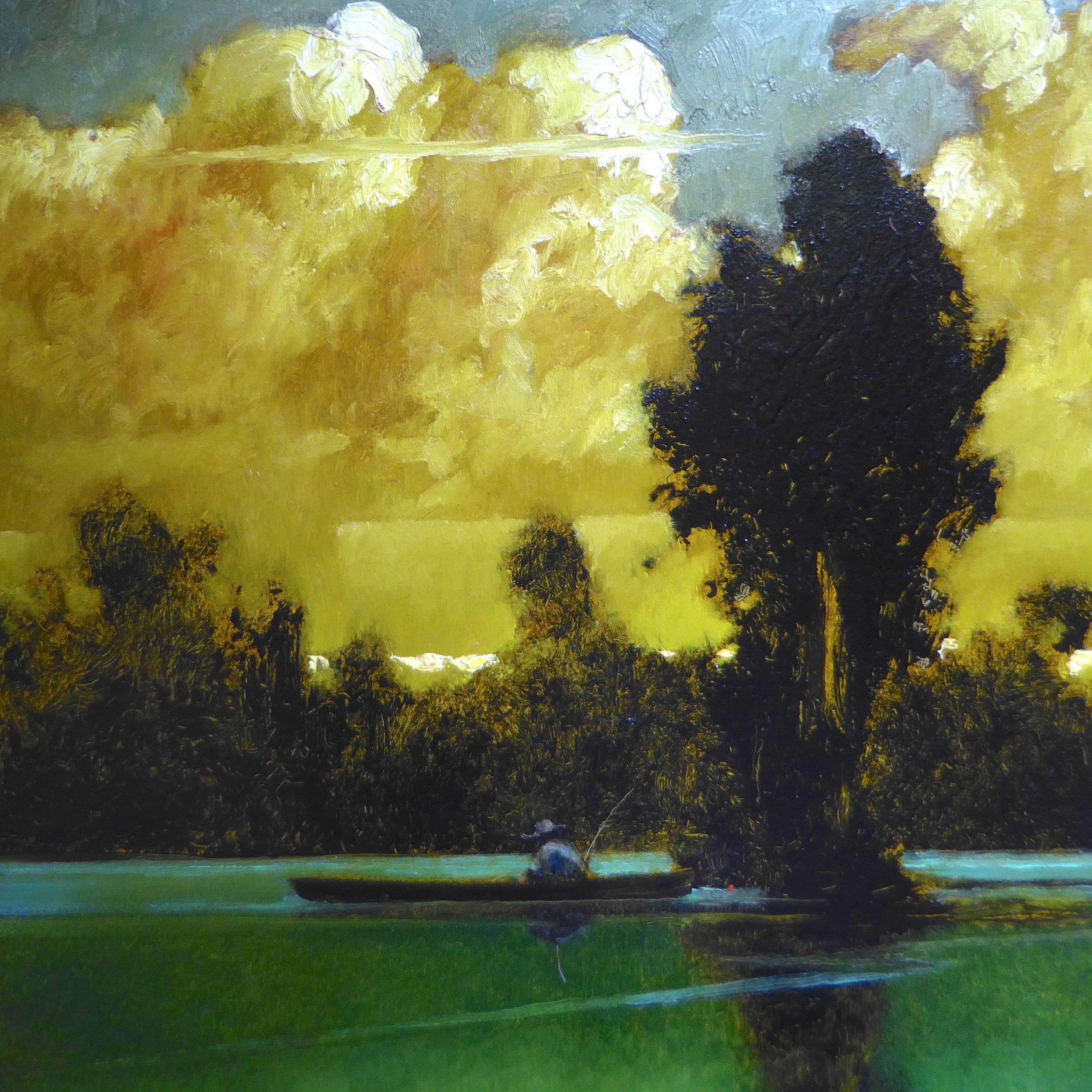 """River, Sky,Oil and Masonite, 20"""" x 18"""""""