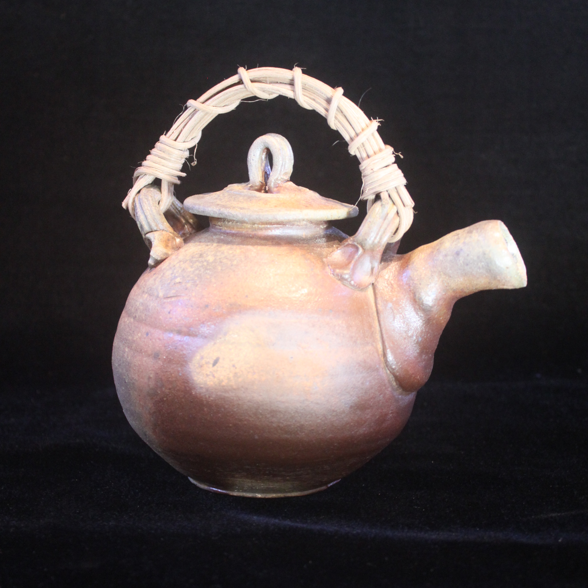 "Anagama Fired Teapot, Stoneware, Wood, 13"" x 10"" x 6.5"""