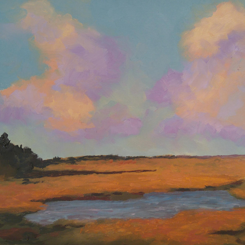 "Marsh Pond Landscape, Oil on Canvas, 16"" x 12"""