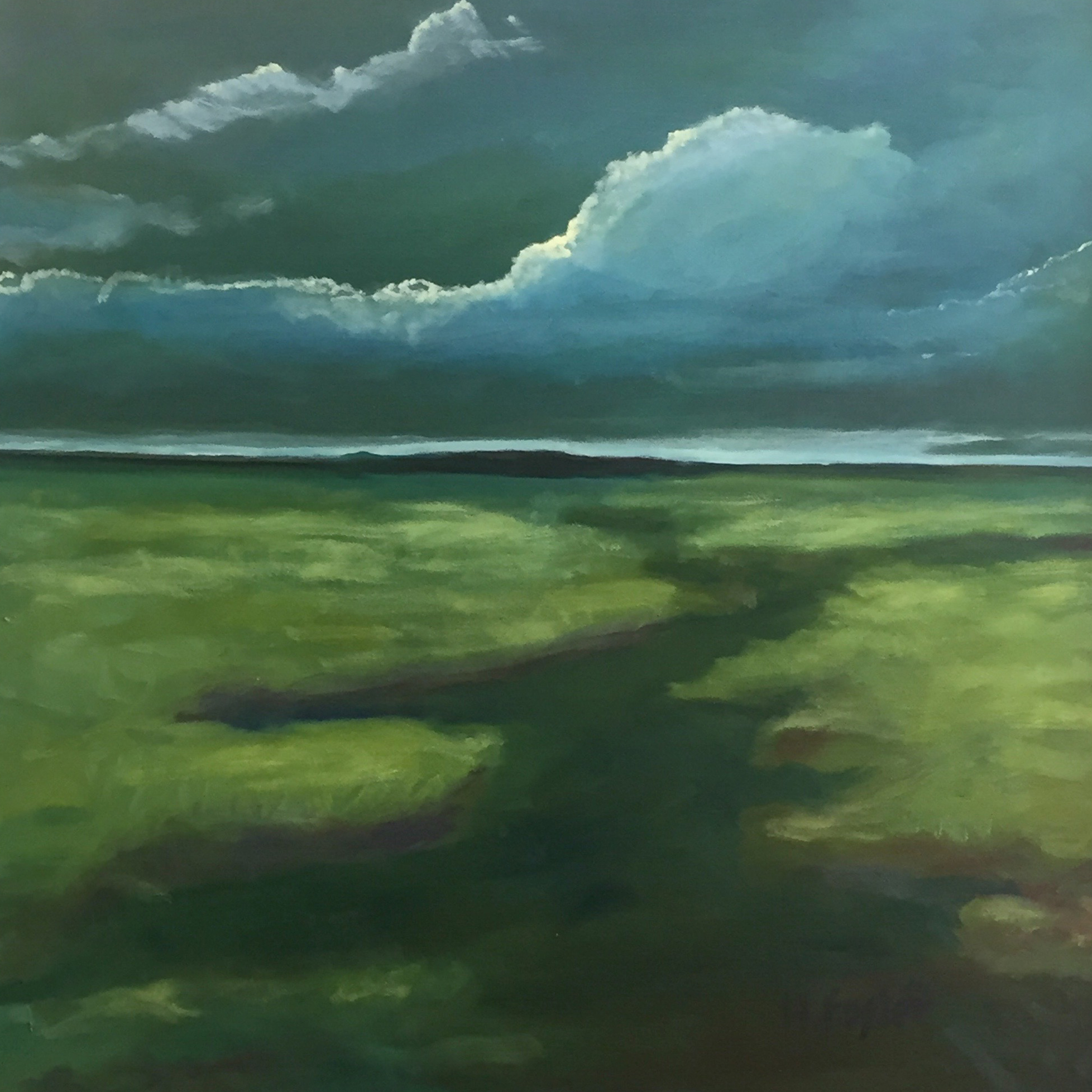 "Sky Scene, Oil on Canvas, 30 x 30"""