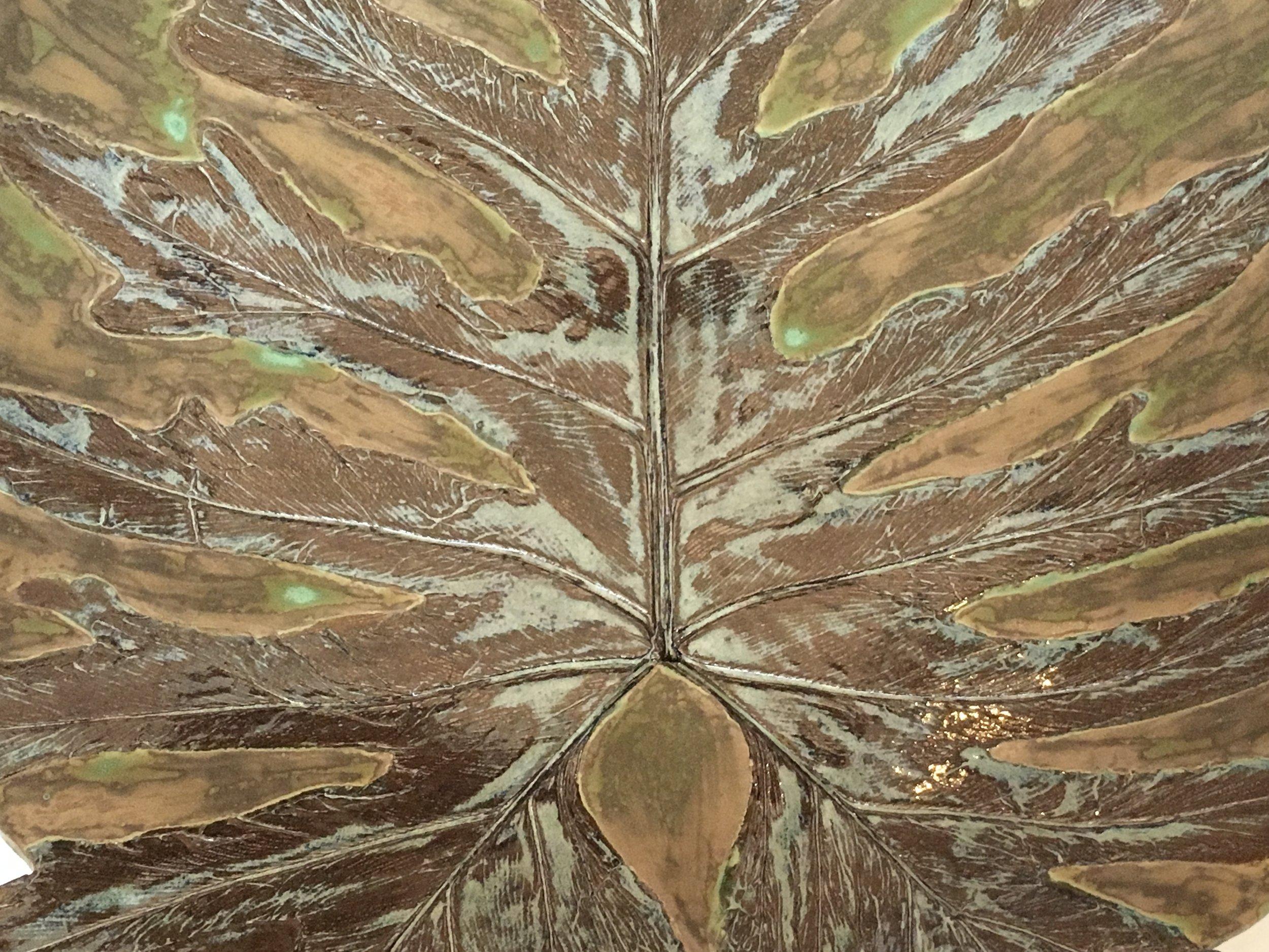 "Philodendron Bowl, Stoneware, 17"" x 17"" x 3"""