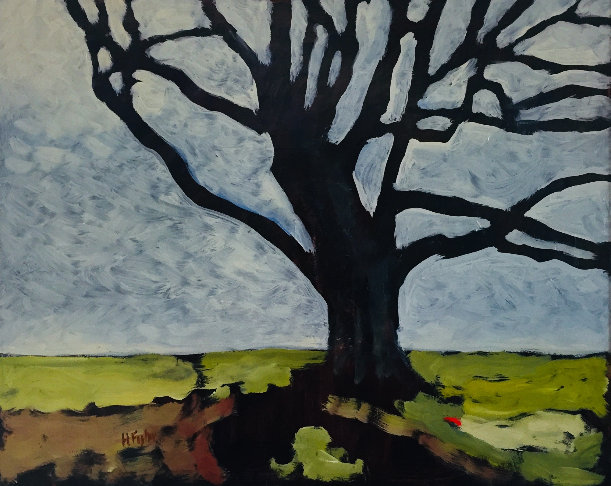 """The Climbing Tree, Oil on Board, 16"""" x 20"""""""