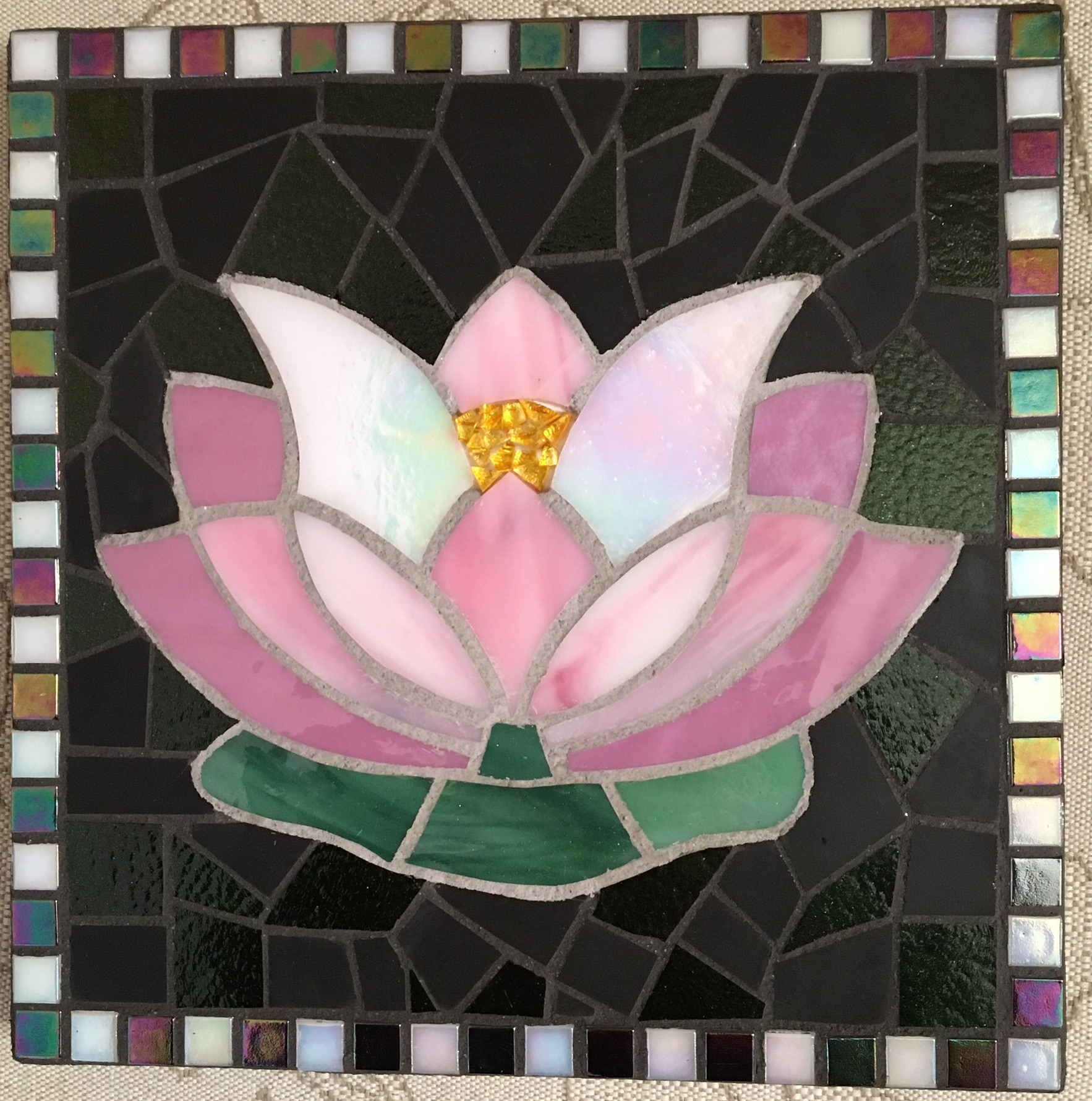 "Water Lily, Mosaic Glass, 12"" x 12"""