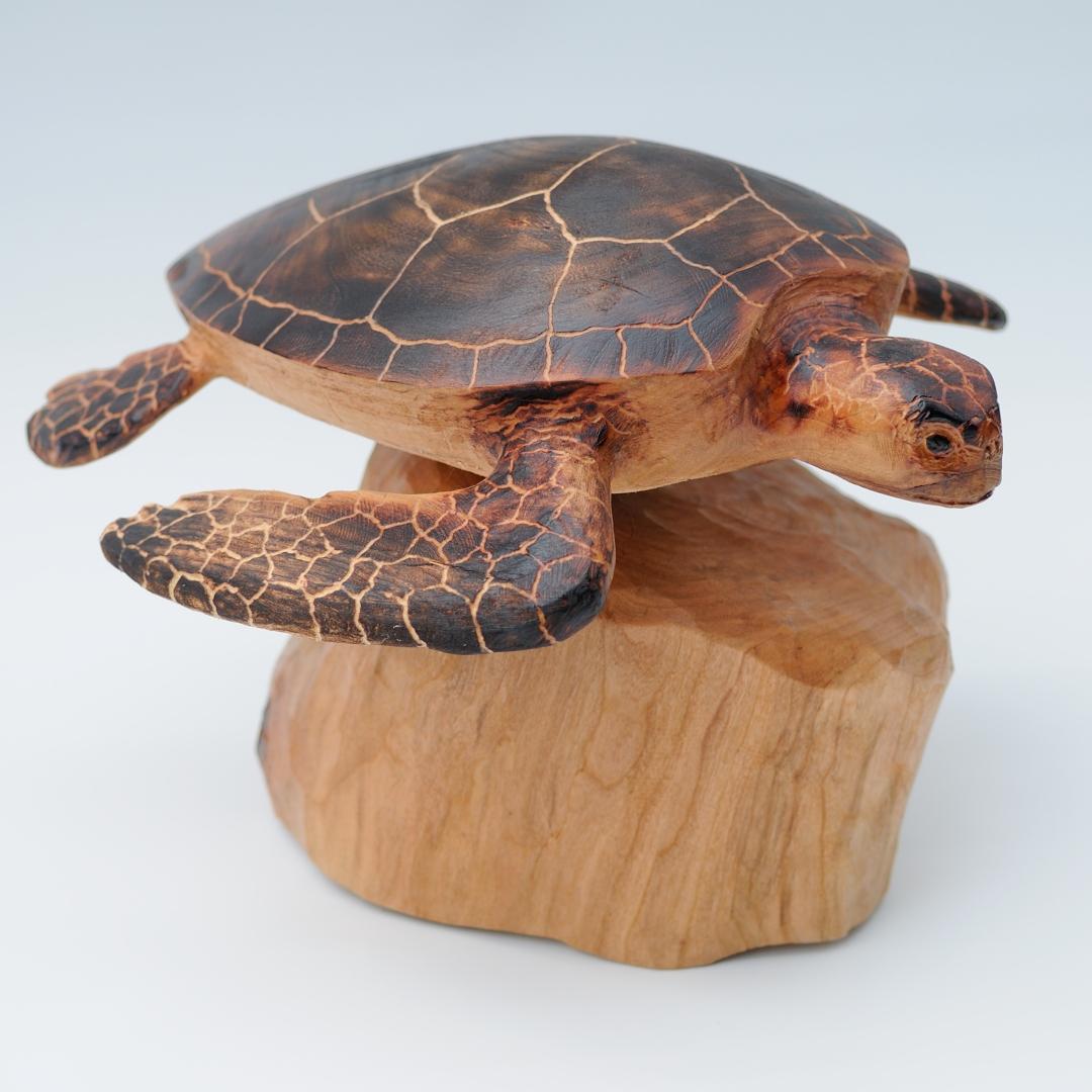 "Sea Turtle, Wood,14"" x 12"" x 10"""
