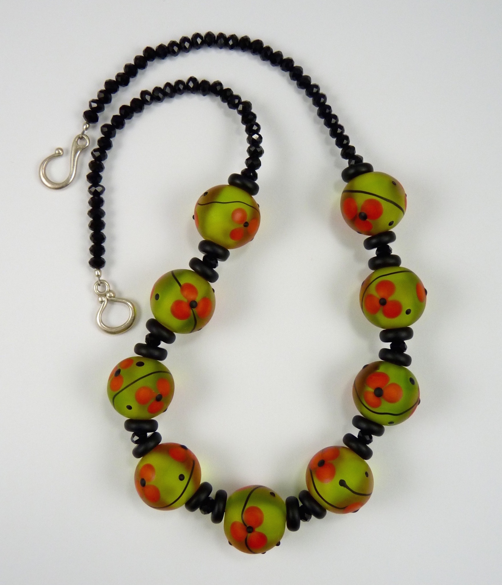 """Glass Bead Necklace, Lamp Work Glass Beads, 20"""" x 1"""""""