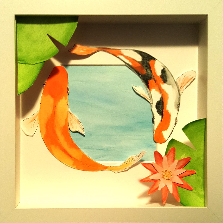 """Koi, Watercolor and Ink Shadowbox, 9"""" x 9"""""""
