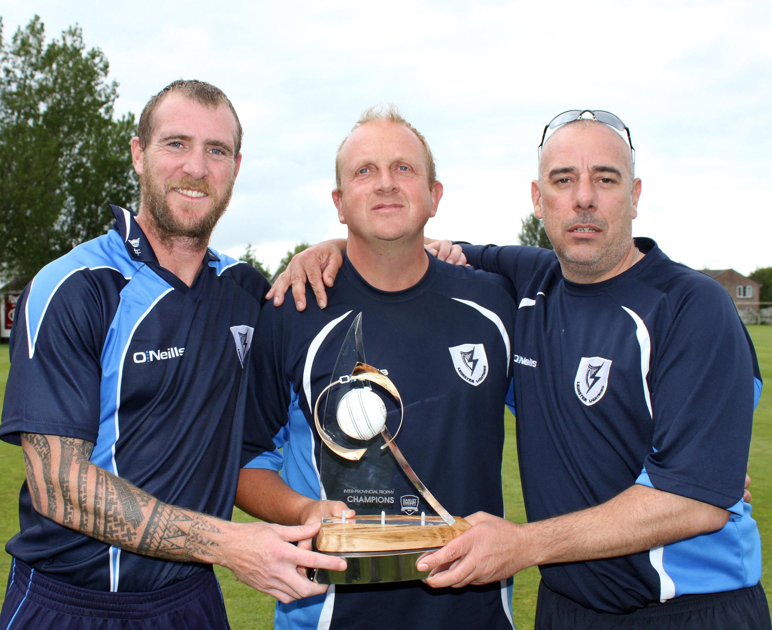 1Skipper John Mooney, Coach Ted Williamson and Manager Mark Jones after Leinster Lightning secured the Hanley Energy IPT20 trophy.jpg