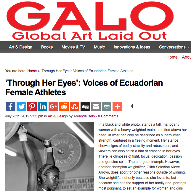 GALO (Global Art Laid Out) magazine reviews THE THROUGH HER EYES PROJECT Chicago exhibit -