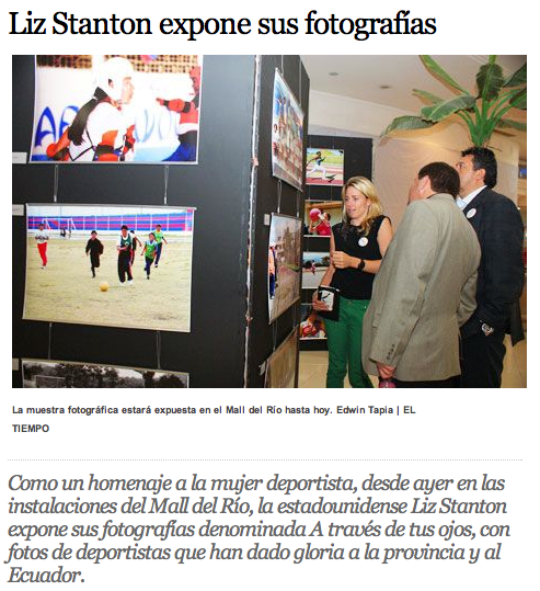 El Tiempo newspaper in Cuenca, Ecuador profiles THE THROUGH HER EYES PROJECT exhibit and work in Ecuador -