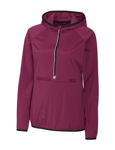 Cutter & Buck Ladies Half Zip Breaker - The Ladies Breaker comes in black, red, green, and blue with the affinity color being a limited edition offering. This Nylon/Elastane popover has an attached hood, reflective properties, a single pouch zip pocket at center front and side pockets. The half-zip front allows for breathable wear and the cuffed sleeves provide a fitted sleeve at the wrists. Other features include, CB DryTec, CB Weathertec, moisture wicking and UPF 40+. With great color options, this popover is a must have Fall piece. Color shown: Affinity (limited edition)