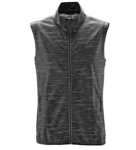 Men's Stormtech Ozone Lightweight Shell Vest - This is the perfect outdoor activewear vest. It's breathable, water repellent and offers reflective properties. The heathered style gives the Ozone Lightweight shell vest a unique look. With zipper pockets, chin saver, 100% Polyester fabric and an elasticized hem, this Stormtech vest makes for a dry and comfortable day. Sizes up to 5XL.