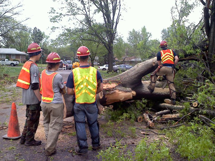 Emergency Response Team members assist in hazard tree removal after a tornado touched down in St. Louis, Missouri in April, 2011