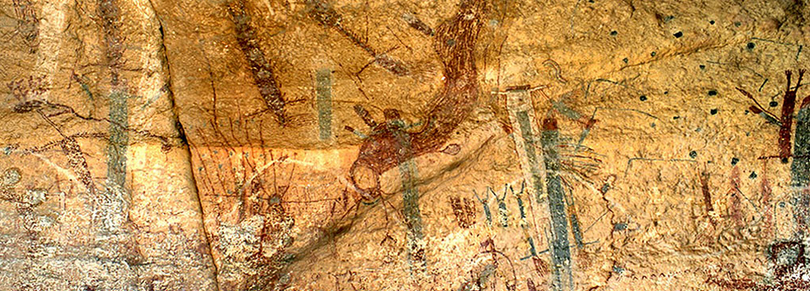 The White Shaman Panel found in the canyonlands near the confluence of the Pecos and Rio Grande Rivers. Photo courtesy of the Witte Museum.