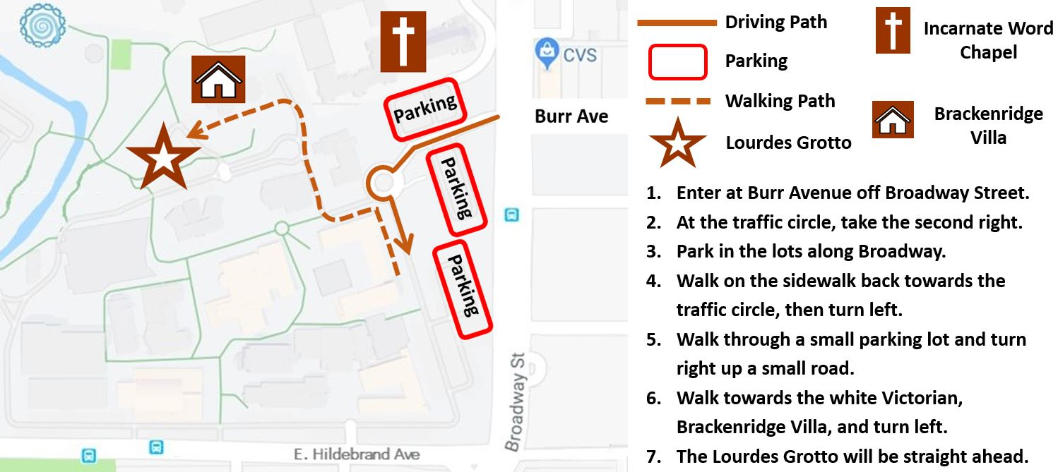 Click the image above for a printable version. The GPS coordinates for the Lourdes Grotto are: 29.467930, -98.466637.