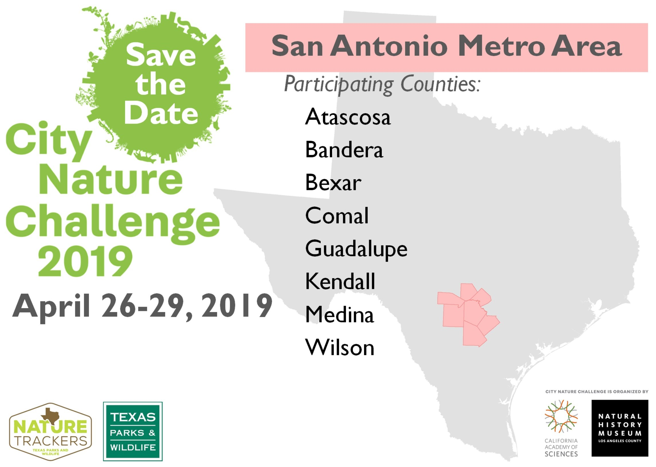 Click on the image above for a printable City Nature Challenge 2019 San Antonio Metro Area map.