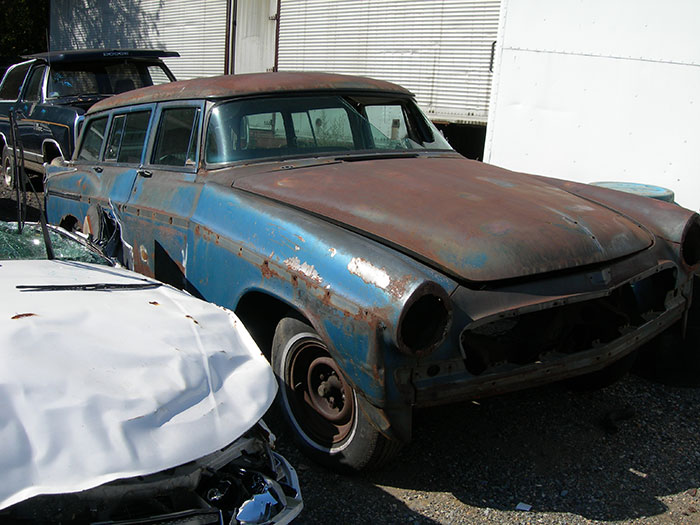 This 1956 Windsor station wagon is a very unusual find for a salvage yard especially in this condition.