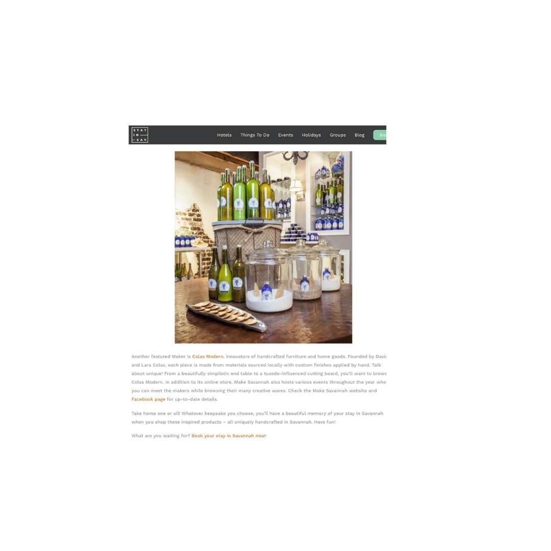 """Stay in Savannah - Uniquely Made in Savannah Guide""""Innovators of handcrafted furniture and home goods."""""""