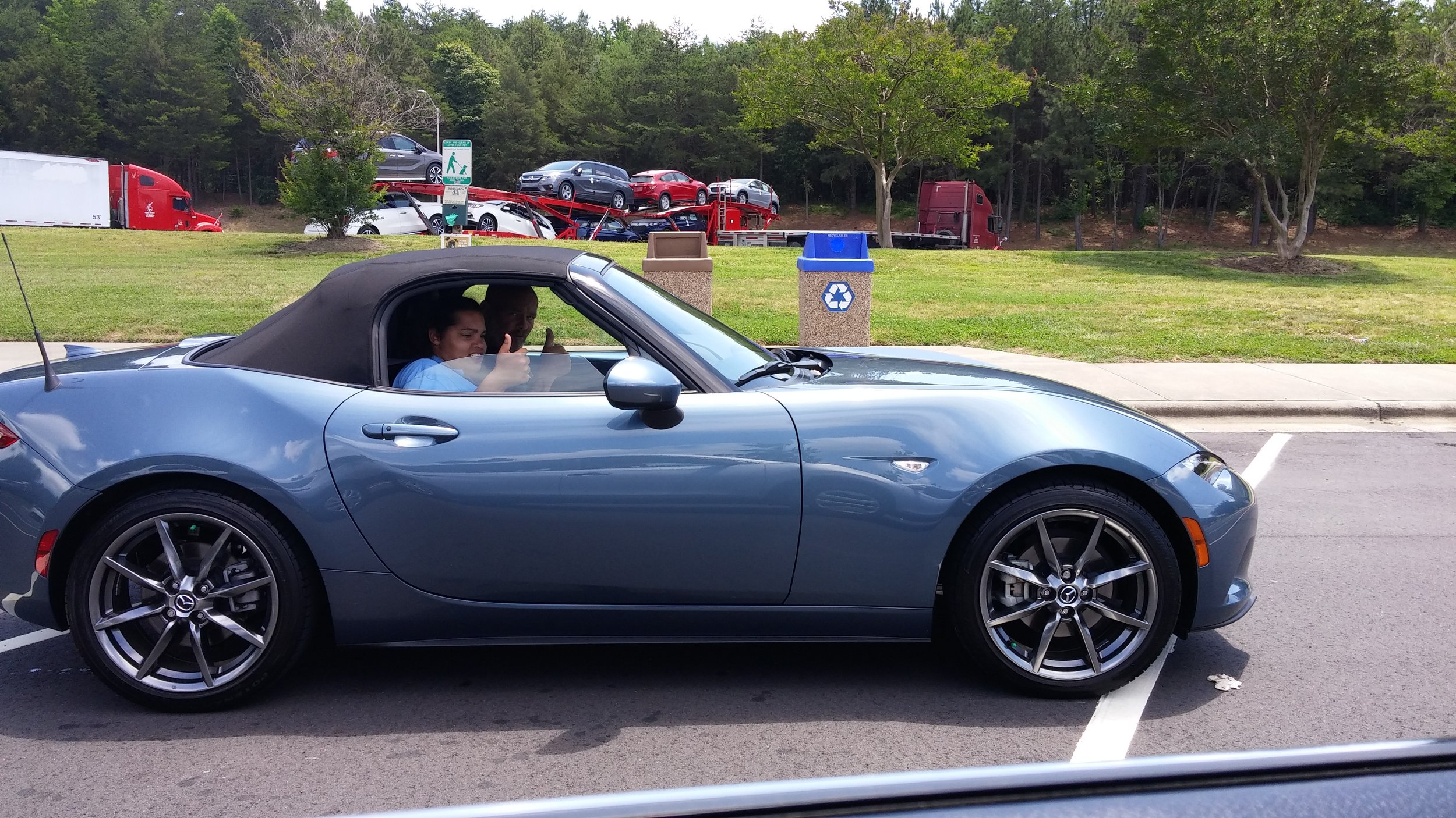 """Robert Greenwell & Sable with the latest """"Used"""" Mx5."""