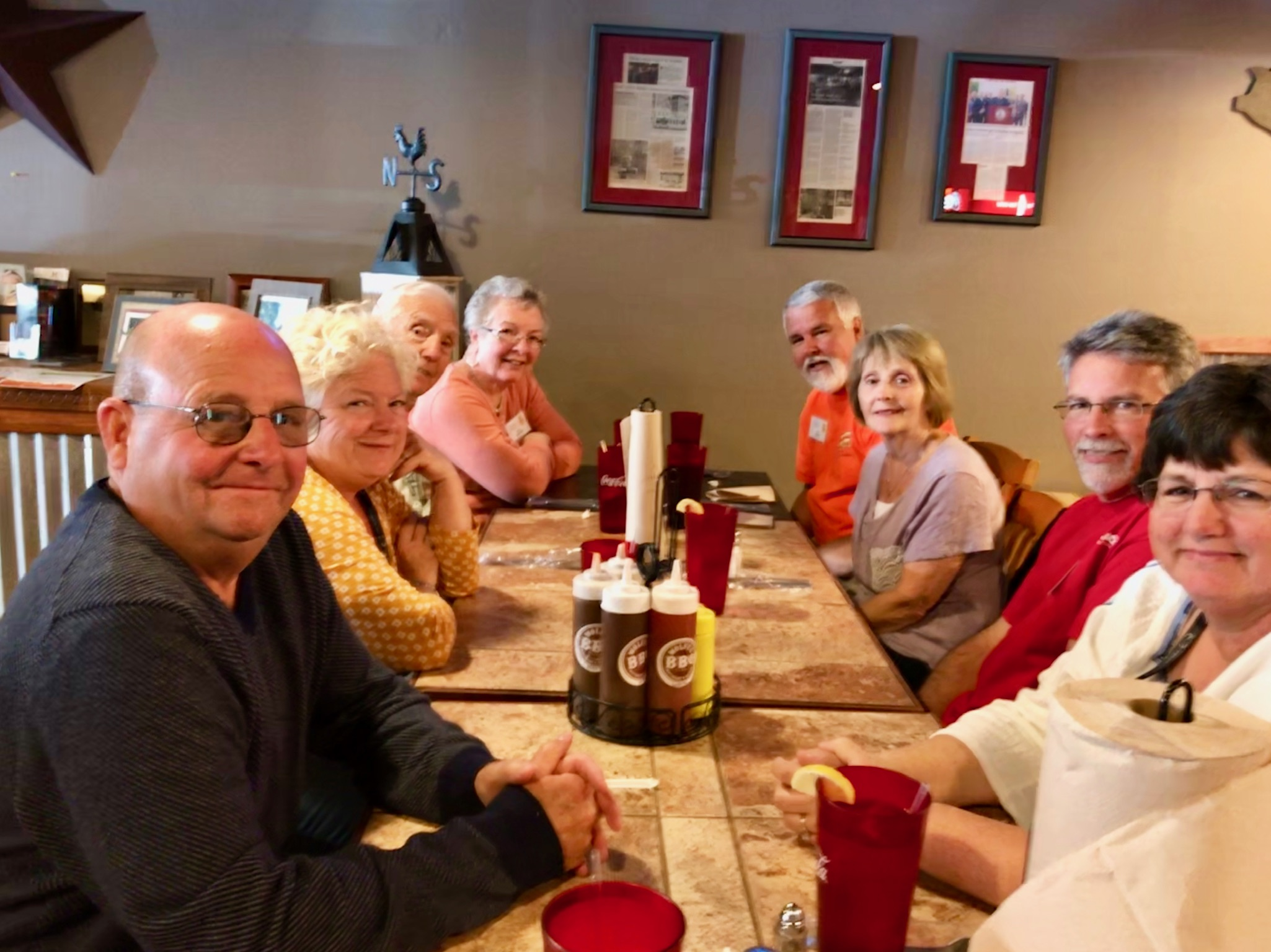Lunch at Wolfe's BBQ in Marion, VA. Clockwise from left: Tom Hickle, Tena Hough, Bob Horneck, Lana Horneck, Tim Beard, Cindy Beard, Lee Hough, Tammy Hickle.