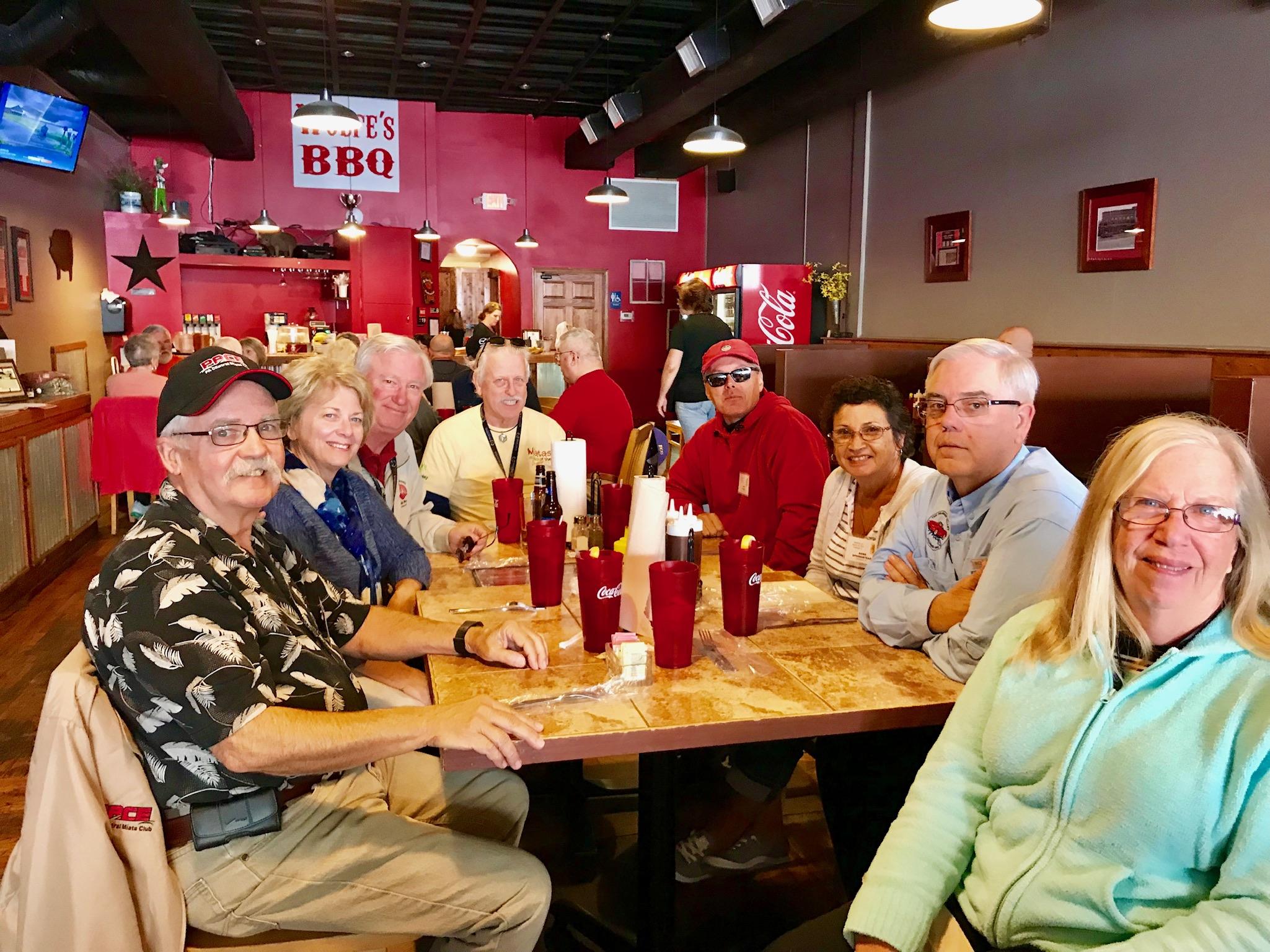 Lunch at Wolfe's BBQ. Clockwise from left: John Boyer, Sharon Rimmler, Bill Rimmler, Ken Ingram, Tracy Brown, Anne Springstead, Curt Springstead, Pat Boyer.