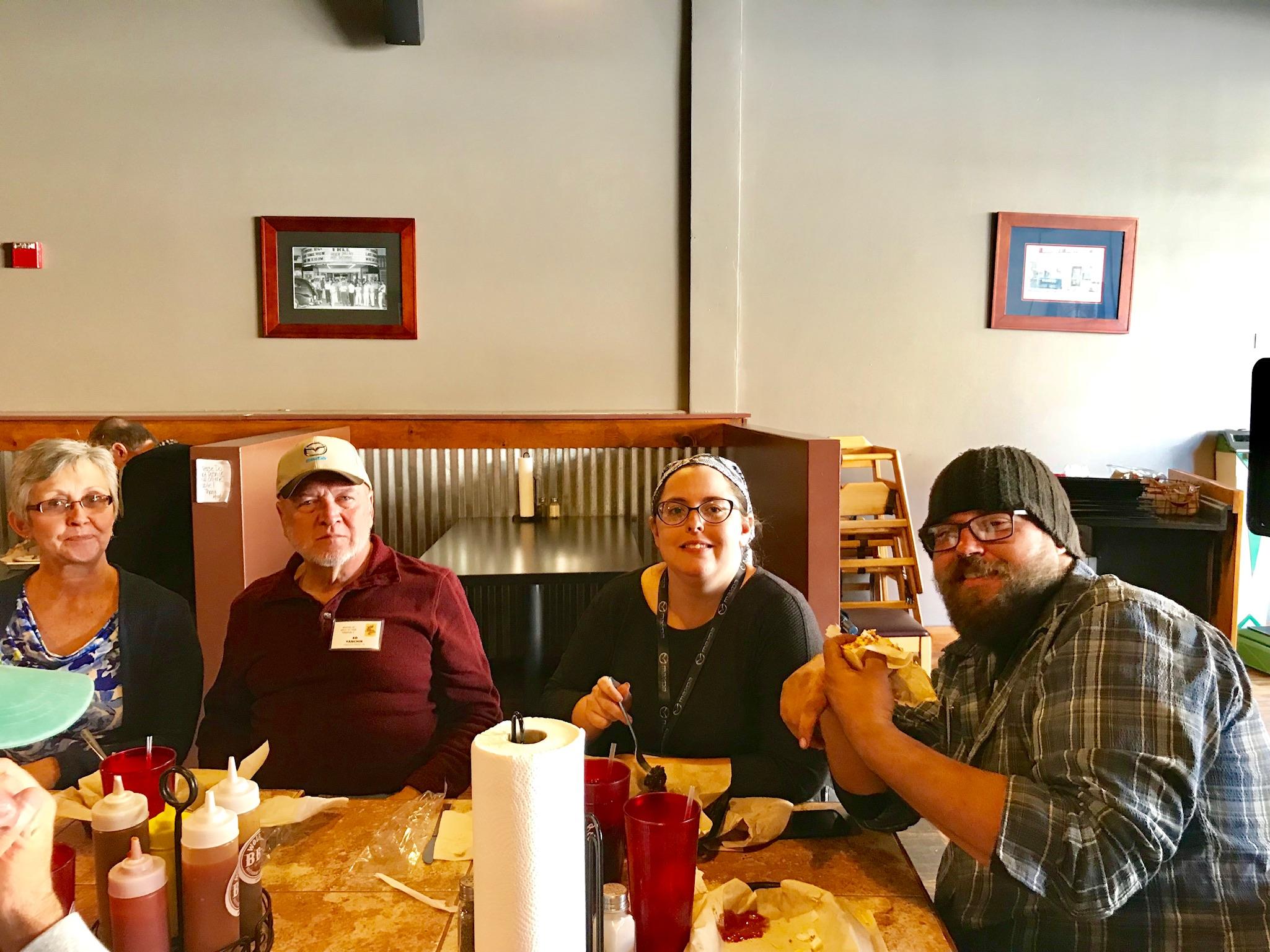 Lunch at Wolfe's BBQ. From left: Patsy Yanchik, Ed Yanchik, Krystal Williams, Josh Williams.