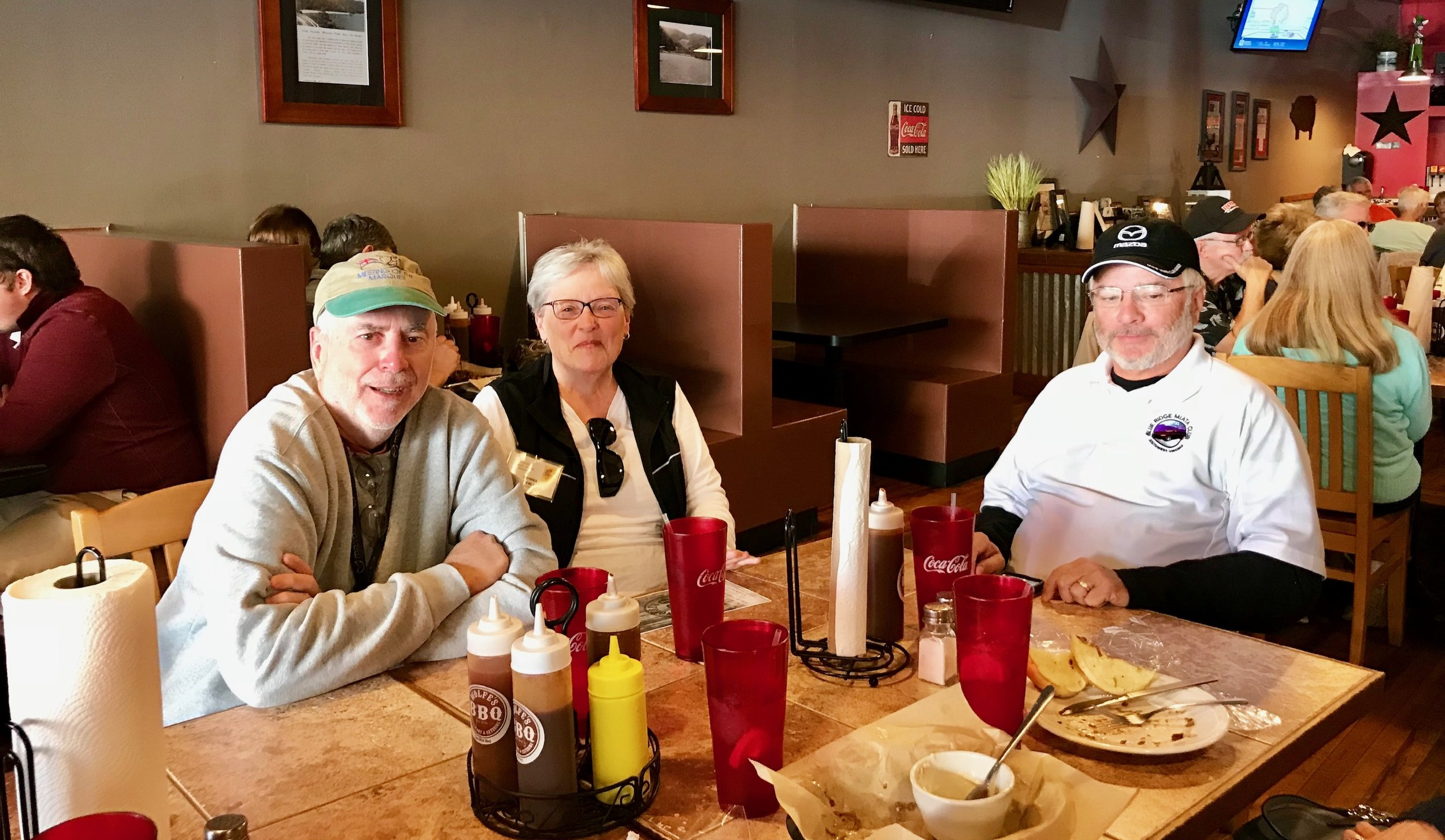 Lunch at Wolfe's BBQ. From left: Joe Neely, Donna Neely, and Bill Mashburn.