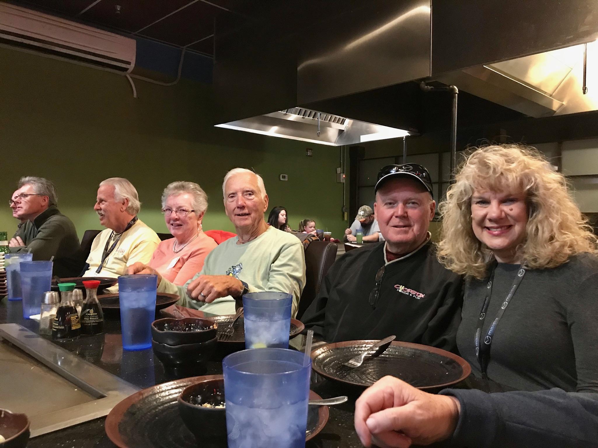 Mike Cory, Tracy Brown, Ken Ingram, Lana & Bob Horneck, Jasper & Carolyn White enjoying their meal at Tokyo Japanese Restaurant