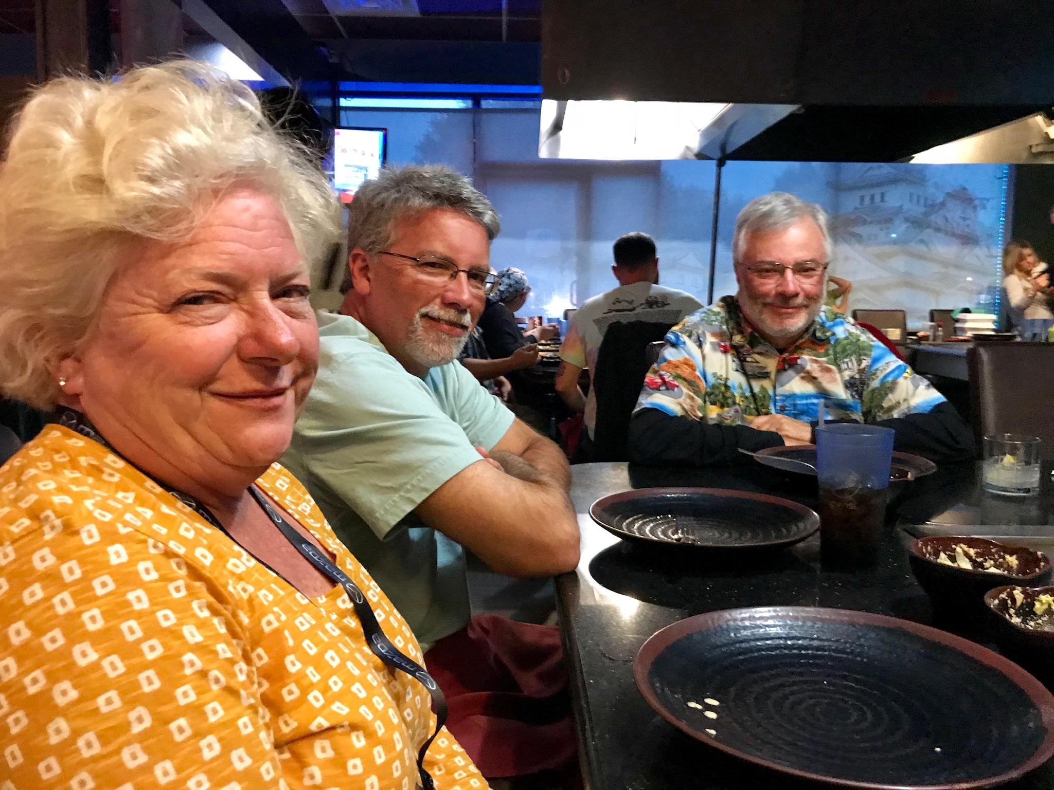 Tena & Lee Hough and Bill Mashburn enjoying their meal at Tokyo Japanese Restaurant
