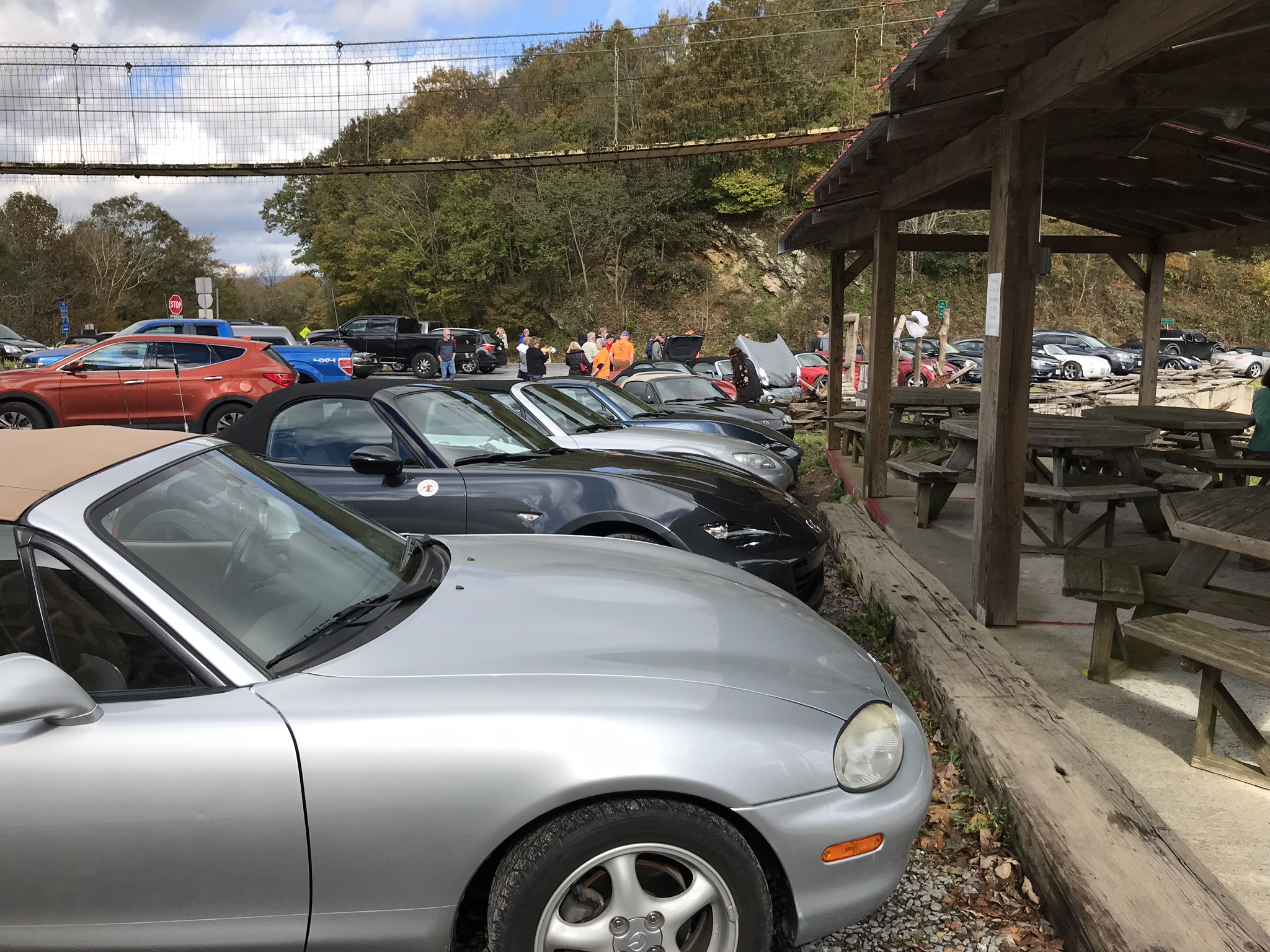 Saturday afternoon we drove to Big Walker Lookout. Our Miatas plus another car club were there.